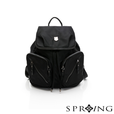 SPRING-未來質感系列尼龍防盜掀蓋束口後背包-經典黑
