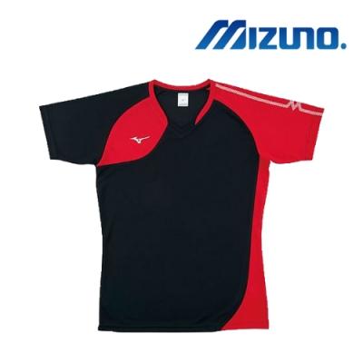 【MIZUNO 美津濃】男女短袖排球T恤 黑紅  V2TA8G1696