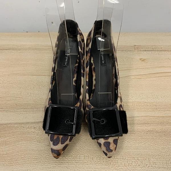尖頭高跟鞋細跟豹紋工作鞋(22.5-24號/跟高9/121-6433)