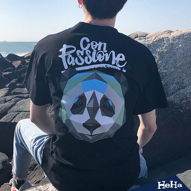 【HeHa】百搭嘻哈熊貓寬鬆潮流短T 二色
