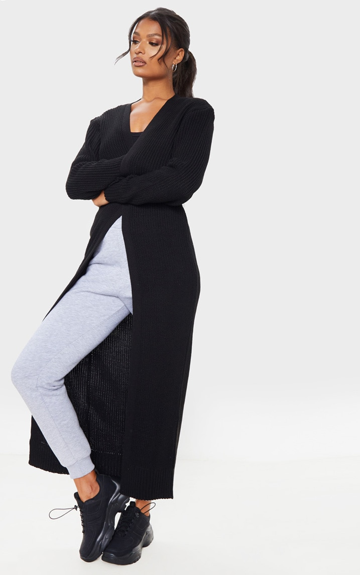 Black Maxi Knitted Cardigan