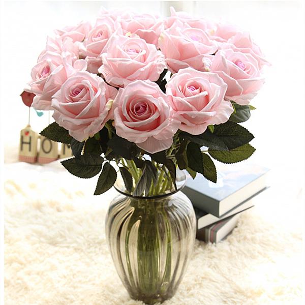 人造花 單支仿真玫瑰花假花套裝高檔客廳餐桌裝飾花干花花束擺件擺設花藝一木良品