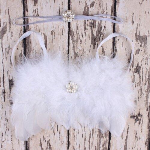 歐美手工寶寶珍珠花髮帶 天使羽毛翅膀 攝影寫真