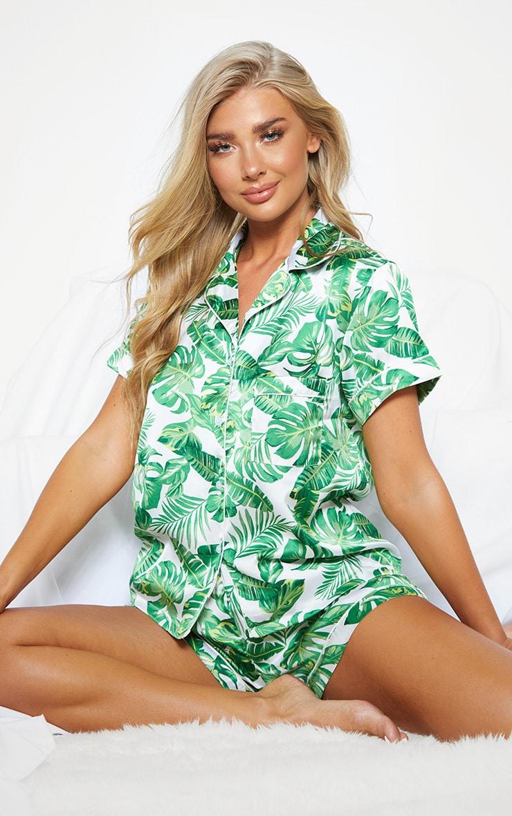 Green Palm Print Short Satin PJ Set
