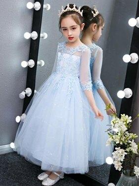 女童禮服女童公主裙兒童禮服小女孩洋氣裙子蓬蓬紗長裙春裝2020新款連衣裙 嬡孕哺