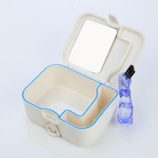 二合一清潔防漏水假牙放置盒附鏡子及刷子