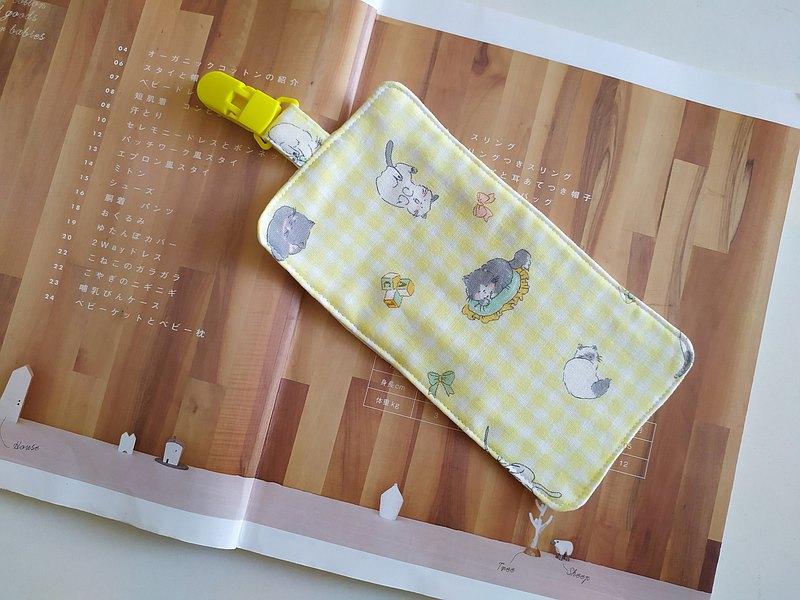 黃小貓 附夾擦汗巾  手帕巾 小手帕 六層紗 擦手巾 擦汗巾 口水巾