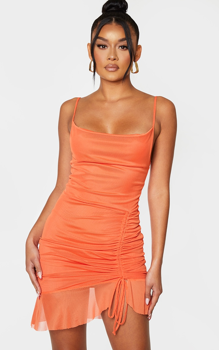Bright Orange Mesh Ruched Bodycon Dress