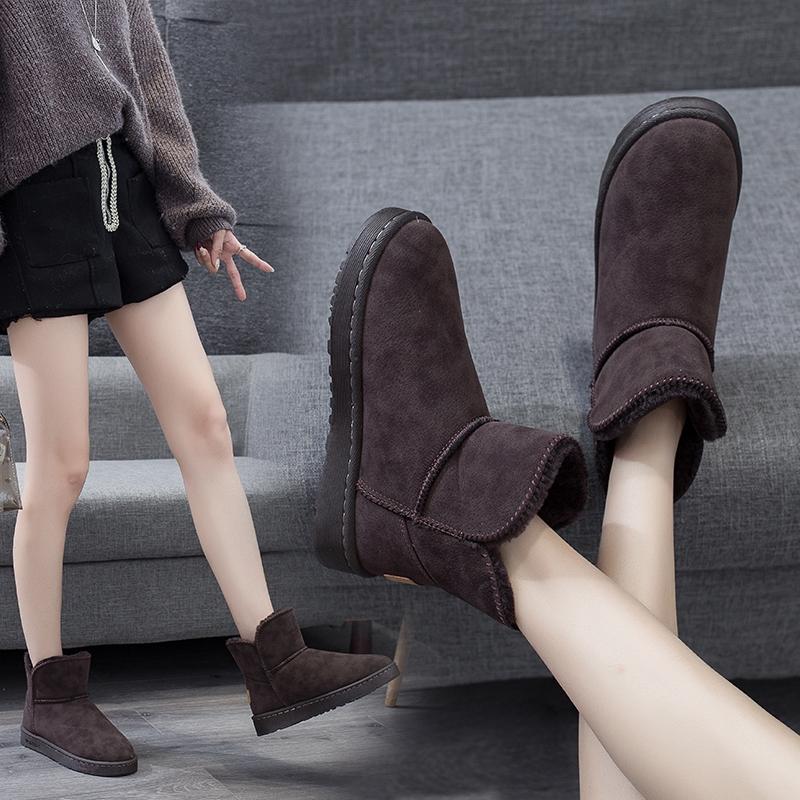 XLDDER雪靴女雪地靴女靴子女雪地靴女短筒新款時尚秋冬款加厚保暖防滑棉鞋男女加絨情侶款現貨