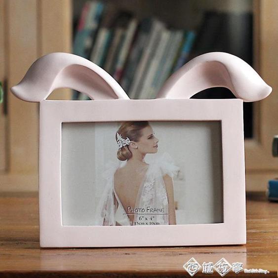6寸折雙耳兔日式可愛擺臺橫款創意樹脂相框BZ1609