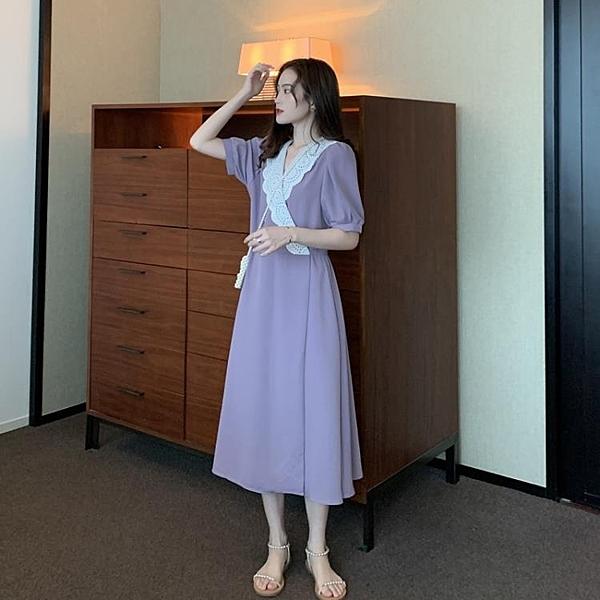 夏季2021新款寬鬆中長款A字裙女溫柔風蕾絲系腰帶紫色洋裝