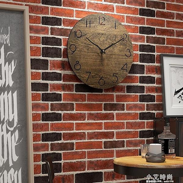 簡約掛鐘創意時鐘家用現代木質客廳免打孔表北歐大氣臥室裝飾壁鐘 小艾時尚NMS