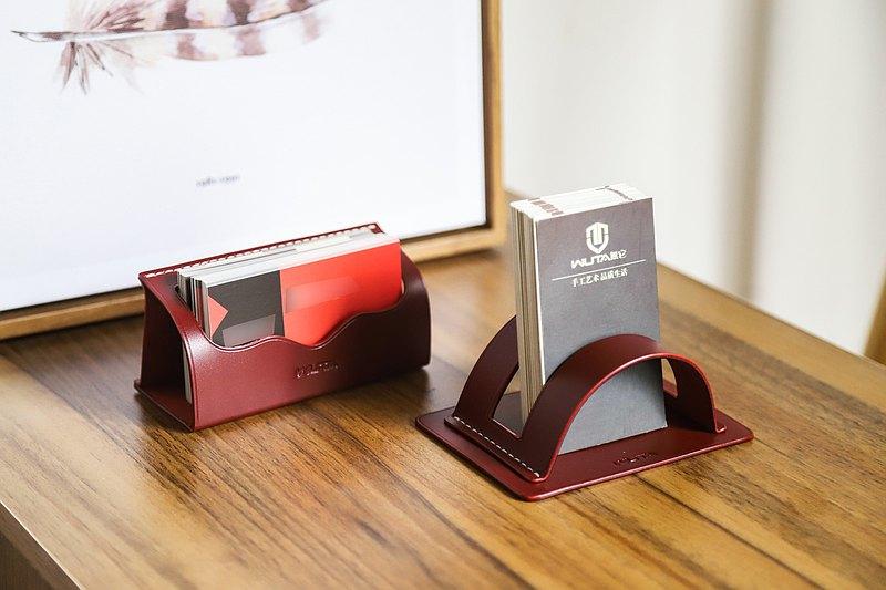 手工皮具 個性名片座名片架材料包 手機支架 植鞣革真皮