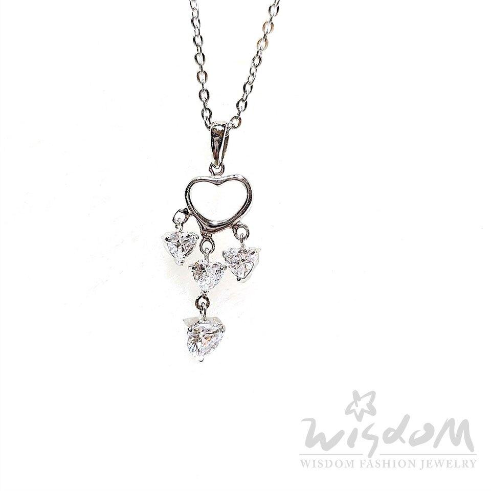 威世登時尚珠寶-璀璨之心白鋯白鋼套鍊 ZNB00016-BFHX