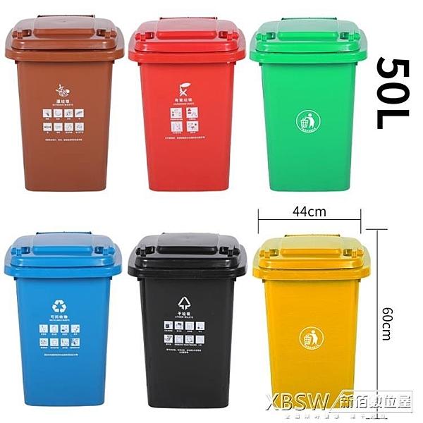 戶外垃圾桶大號加厚50L商用塑料箱環衛室外樓道帶蓋小區分類回收桶CY『新佰數位屋』