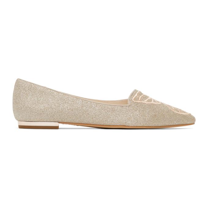 Sophia Webster 银色 Butterfly 闪粉芭蕾平底鞋