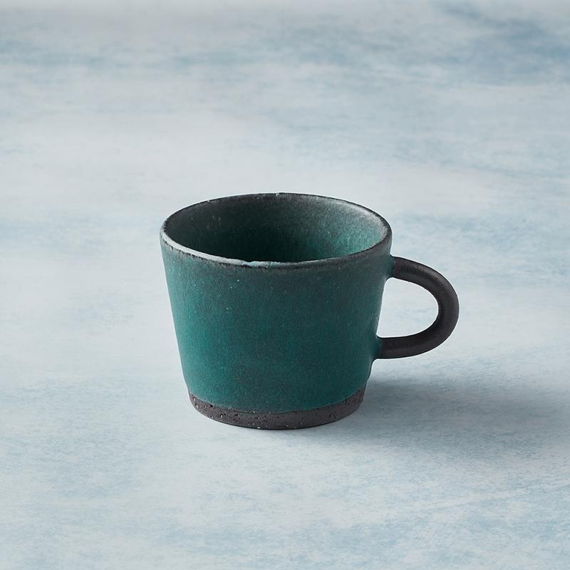 日本美濃燒 - 寬口圓柄馬克杯 - 青綠