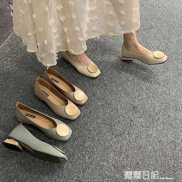 復古奶奶鞋粗跟單鞋女低跟豆豆鞋2020春款OL方頭圓頭韓版淺口瓢鞋 露露日記