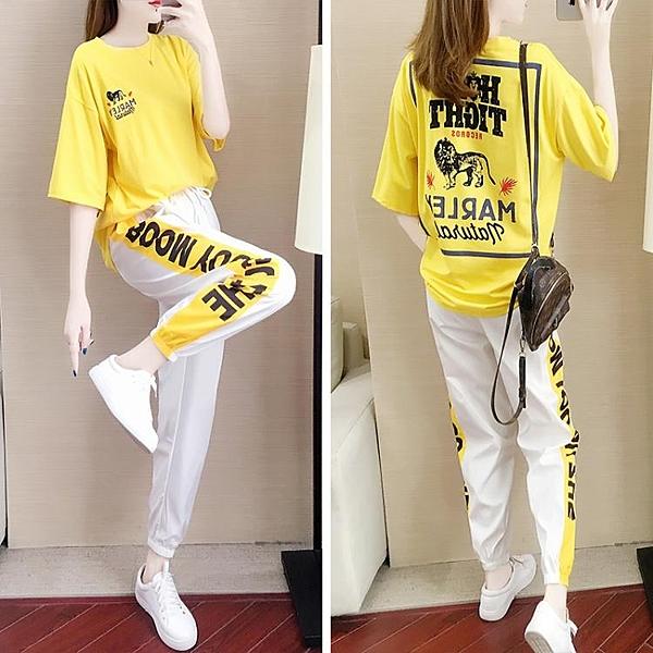 夏季新款韓版時尚減齡跑步運動服女百搭學生休閒套裝女兩件套 快速出貨