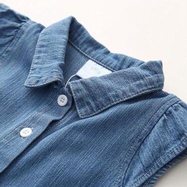 女童連身裙寶寶飛袖牛仔連身裙 2020夏裝韓版新款女童童裝 裙子qz-3455 嬡孕哺