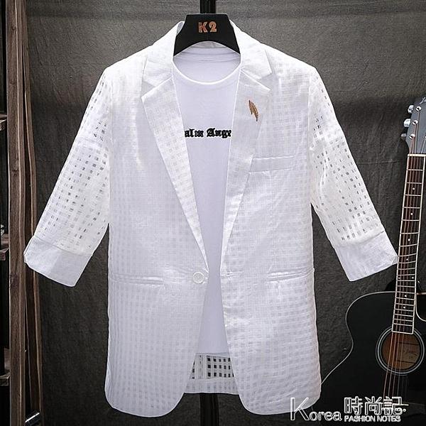 男士西服夏季超薄款七分袖韓版修身中袖小西裝外套潮流帥氣上衣服