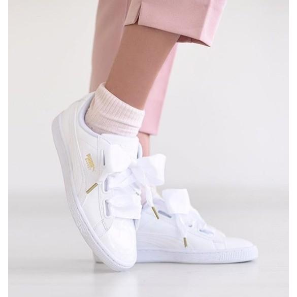 PUMA Basket Heart Patent 白色 漆皮 蝴蝶結 緞帶鞋 蕾哈娜 36307302