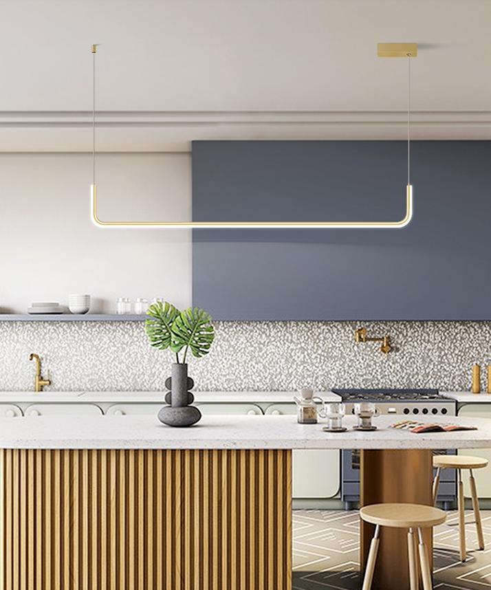 長90cm 單色光 燈具 餐廳吊燈 簡約現代 大氣藝術 輕奢創意個性 長條led 北歐燈具 家用網紅