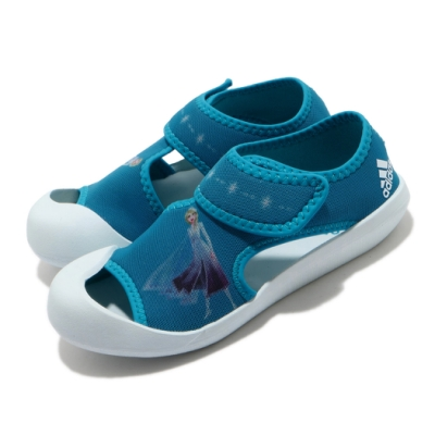 adidas 涼拖鞋 Altaventure C 休閒鞋 童鞋 愛迪達 冰雪奇緣 ELSA 魔鬼氈 中童 藍 白 FV4623