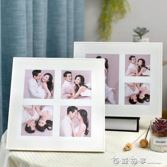韓式婚紗照定制小相框擺臺黑色水晶玻璃桌擺組合結婚照片制作10寸