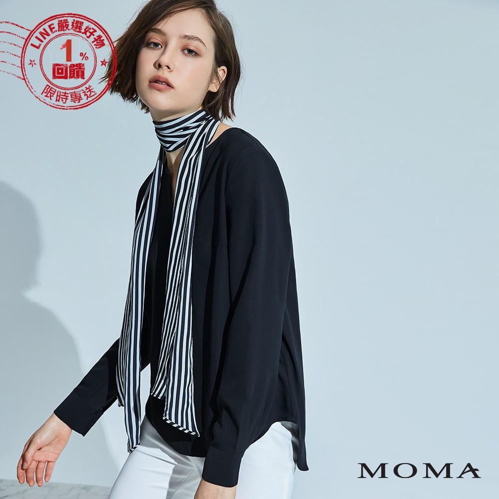 MOMA(92G028)條紋綁帶雪紡上衣-剩餘34號