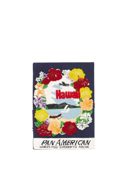 Olympia Le-tan - Pan-american Airways Embroidered Book Clutch - Womens - Black Multi