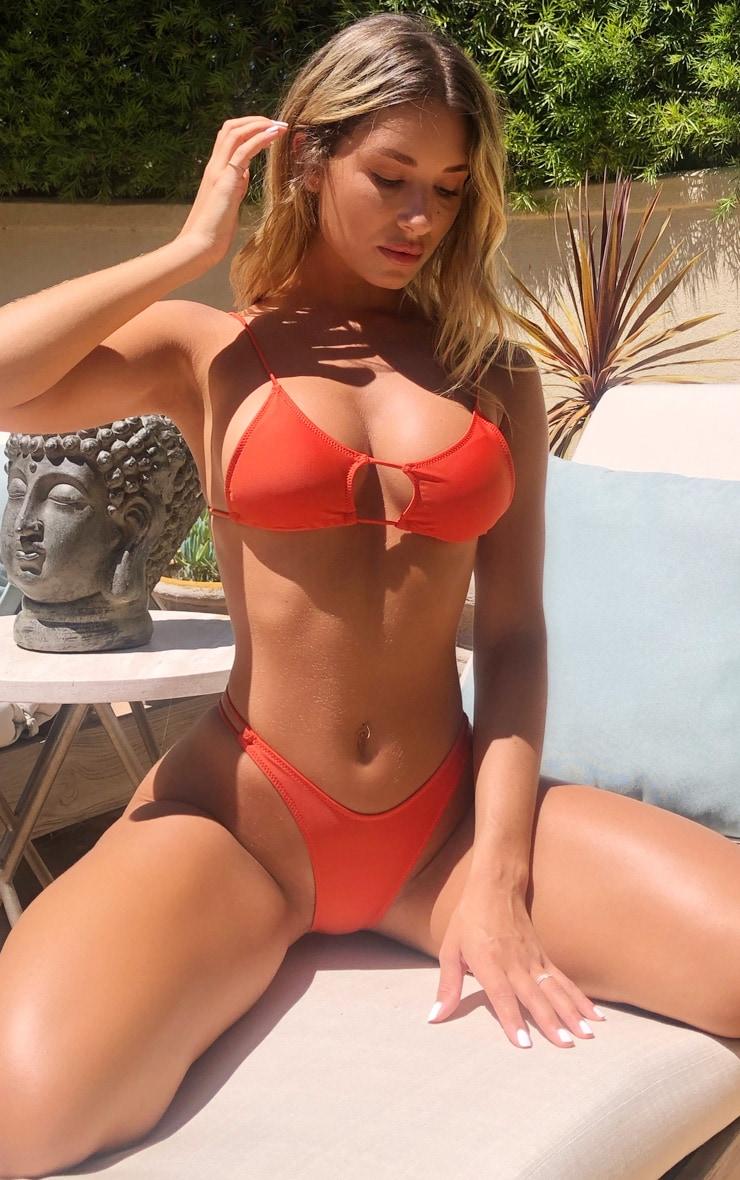 Red Cut Out Tie Bikini Top