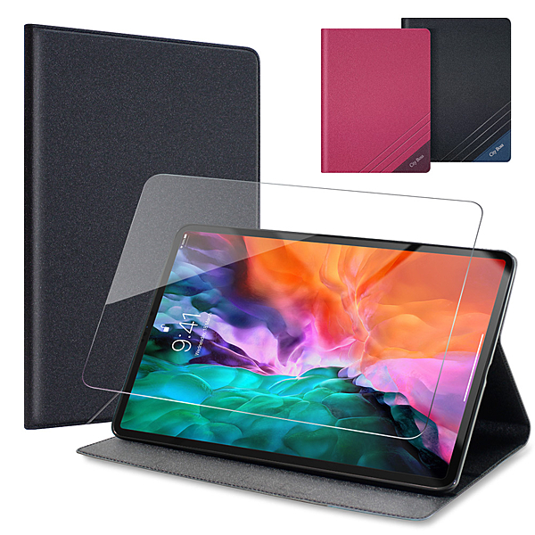 CITYBOSS for 2020 iPad Pro 12.9吋運動雙搭隱扣皮套+專用玻璃組-黑色