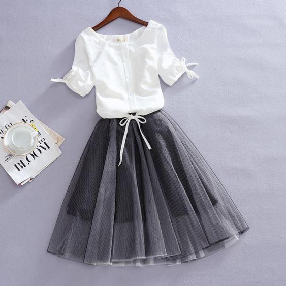 2020夏季新款韓版大碼短袖寬鬆雪紡衫女顯瘦網紗蓬蓬洋裝兩件套