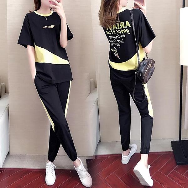 短袖運動套裝女夏季韓版學生寬鬆顯瘦網紅時尚洋氣跑步休閒兩件套 快速出貨