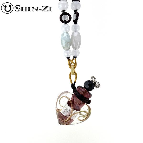 紫心項鍊 手工項鍊 琉璃項鍊 精油項鍊 中國繩項鍊