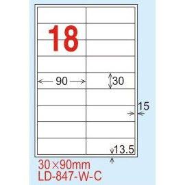 【龍德】LD-847(直角-白色) 雷射、噴墨、影印三用電腦標籤 30x90mm 20大張/包