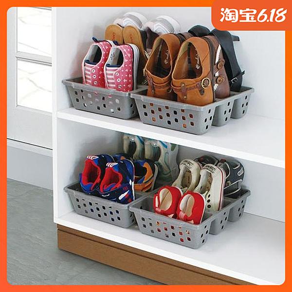 尺寸超過45公分請下宅配日本進口鞋子收納盒鞋架鞋子整理盒節省鞋柜省空間鞋盒3分隔鞋架
