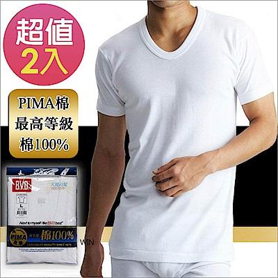 BVD PIMA棉絲光U領短袖衫(2入組)-台灣製造