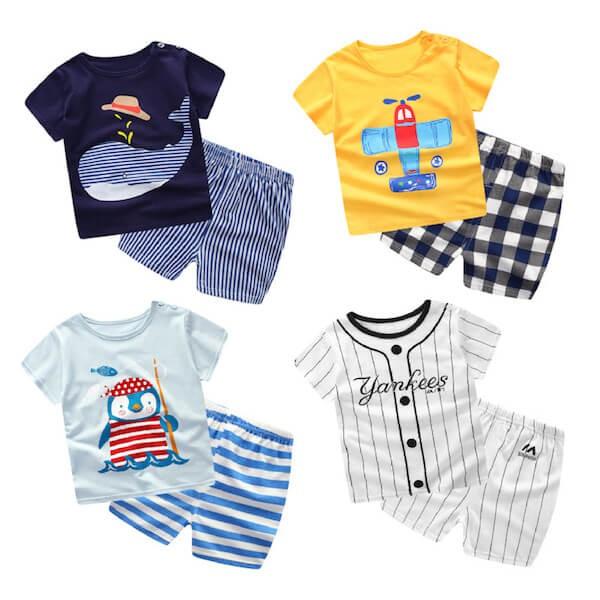 嬰兒短袖套裝 俏皮卡通 短袖上衣 + 短褲 寶寶童裝 ZS11904 好娃娃