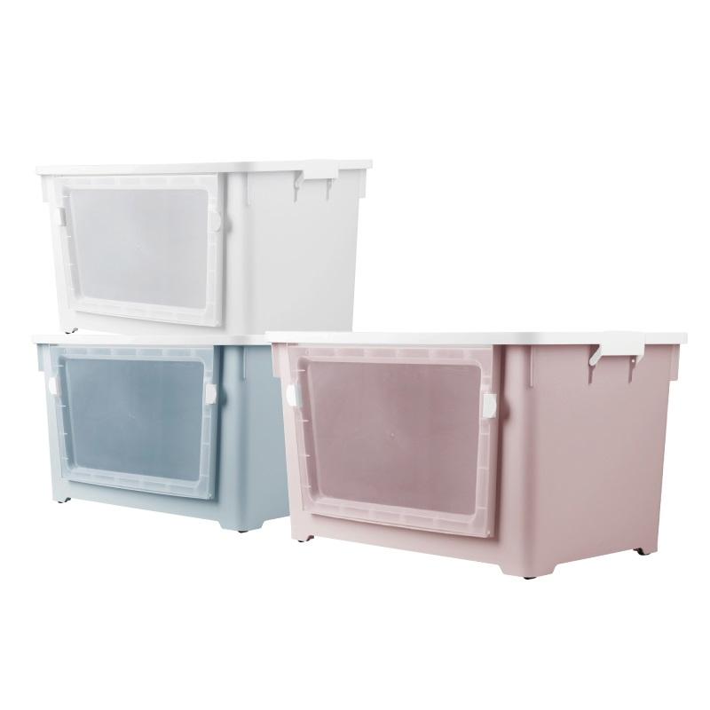 大地優雅側開收納箱(附蓋含輪)-顏色隨機出貨