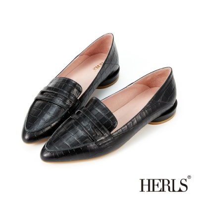 HERLS樂福鞋-兩穿全真皮鱷魚壓紋尖頭樂福鞋-黑色