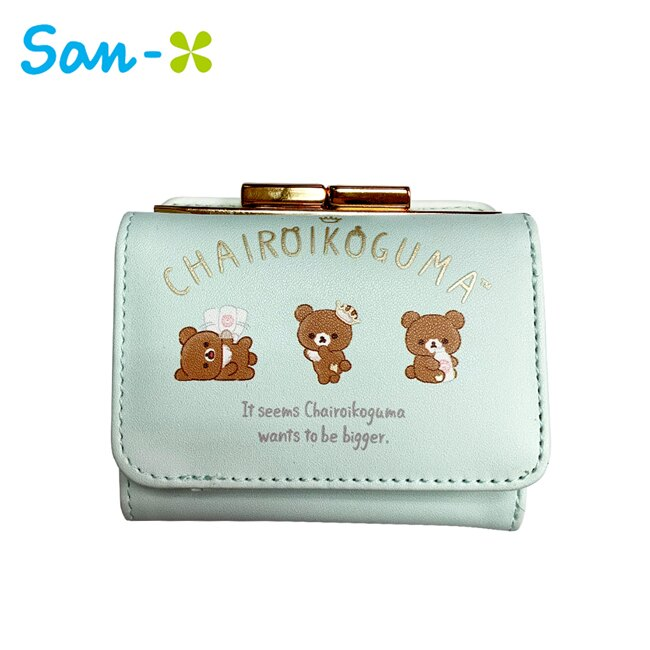 【日本正版】蜜茶熊 珠扣 三折短夾 皮夾 錢包 茶小熊 懶懶熊 Rilakkuma San-X 763110