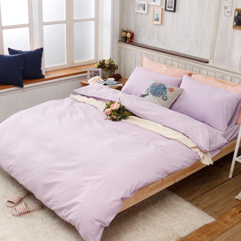 素色水洗棉 薄被套床包組-雙人標準5尺 (十色可選) 冰藍