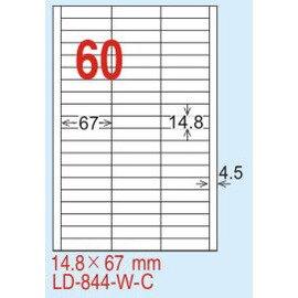 【龍德】LD-844(直角) 透明三用標籤(可列印) 14.8x67mm 5大張/包
