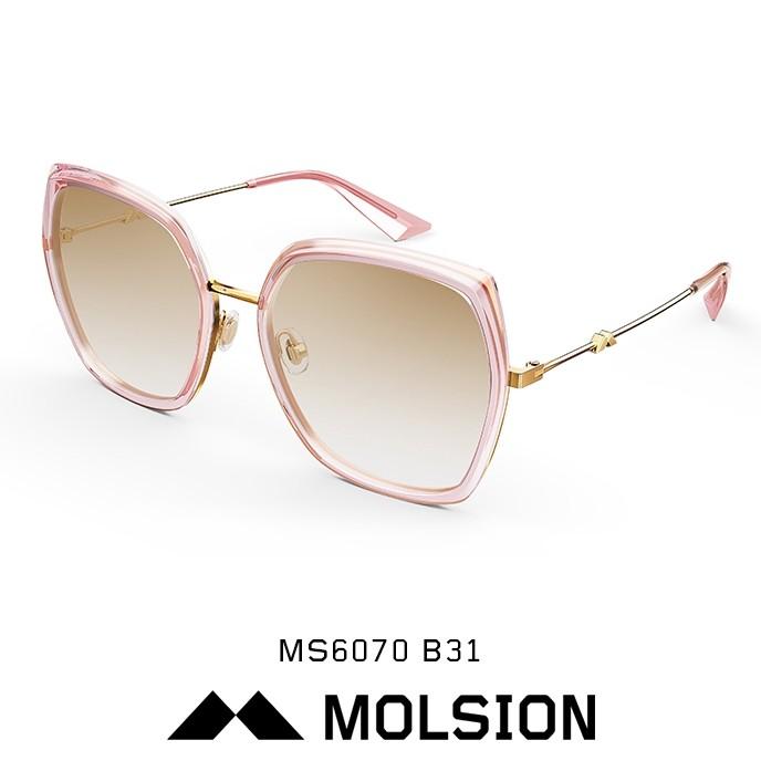 MOLSION 墨鏡 MS6070 B31 (透粉/金) 粉茶鏡片 太陽眼鏡【原作眼鏡】