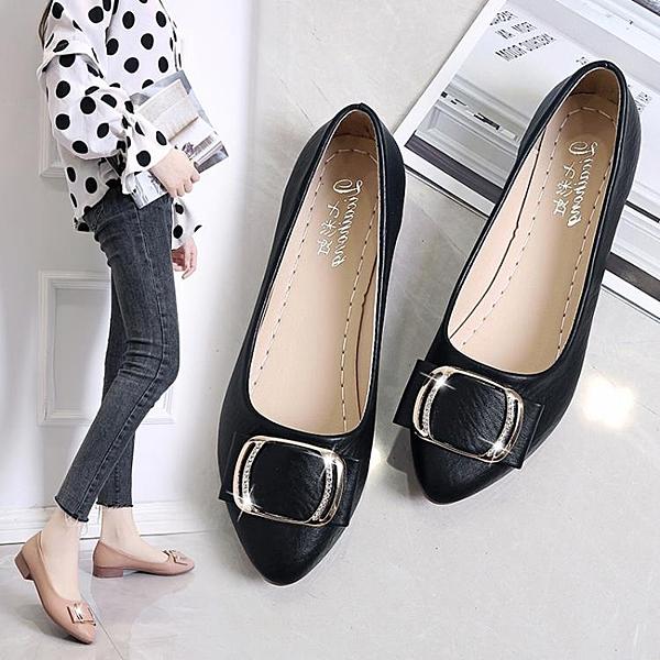 低跟鞋2021春季新款女鞋圓頭淺口休閒套腳低跟舒適平底甜美單鞋女低幫鞋  COCO衣巷