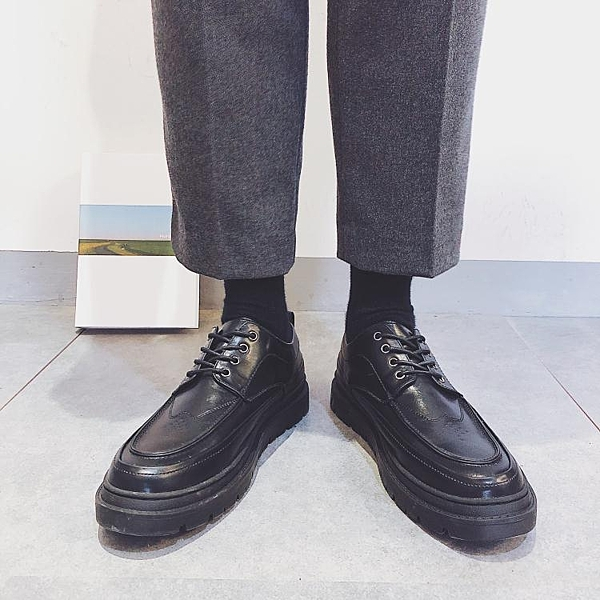 秋季透氣皮鞋男布洛克英倫風韓版青年西裝百搭商務正裝休閒男鞋晴天時尚