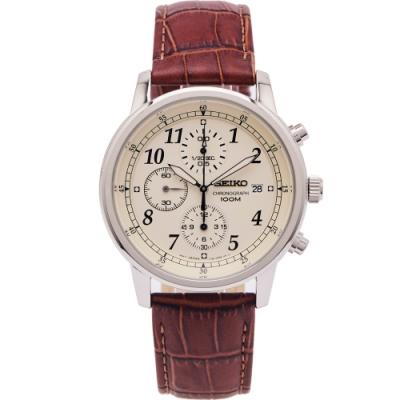 SEIKO 簡約時尚風計時的皮革錶帶手錶(SNDC31P1)-米黃色面x咖啡色/40mm