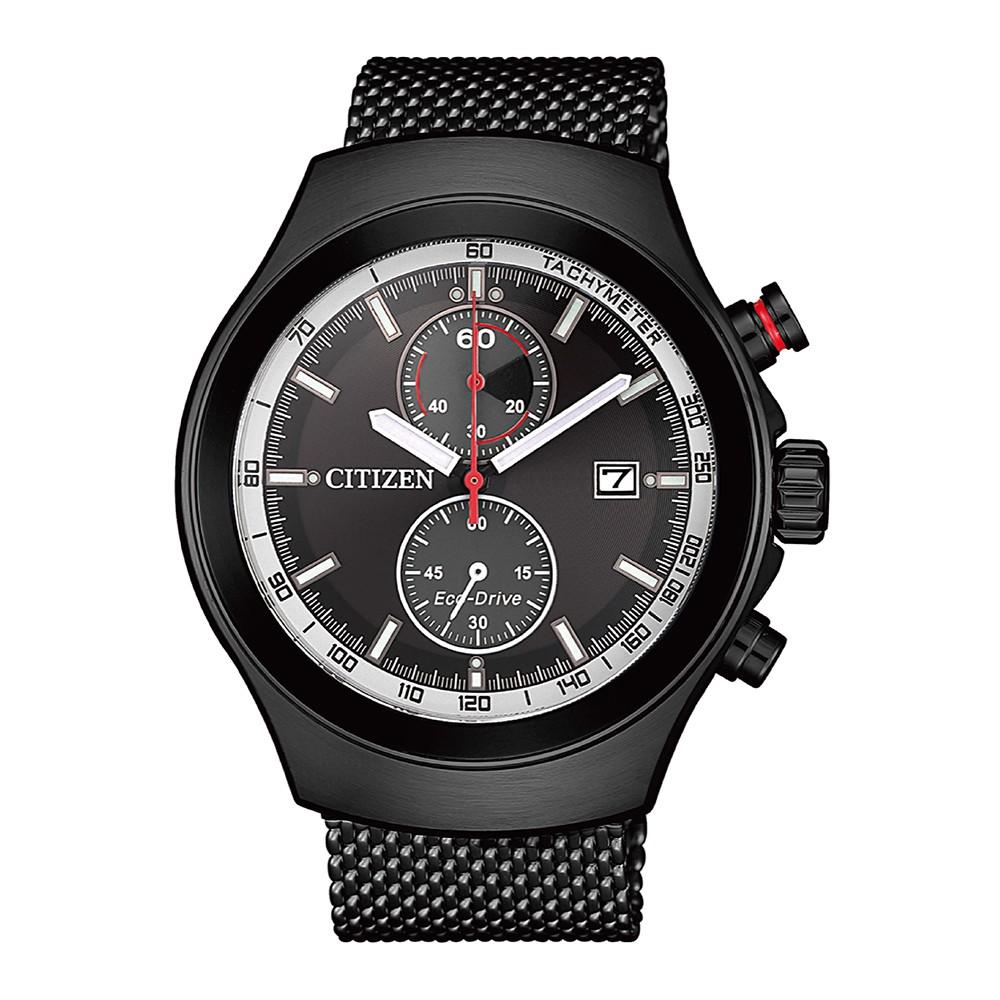 【CITIZEN 星辰】Chronograph經典光動能碼錶計時三眼鋼錶43.5mm(CA7015-82E)